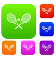 crossed tennis rackets and ball set collection vector image vector image