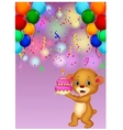 Cute baby bear holding birthday cake vector image