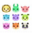 cute cartoon happy animal faces set vector image vector image