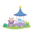 cute circus bear with layer and carousel vector image