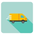 Delivery Van Flat Rounded Square Icon with Long vector image