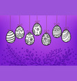easter eggs in doodle style banner copy space vector image vector image