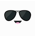 Face with black pilot sunglassess Happy emotion vector image vector image