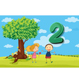 Flashcard number 2 with two children in the park vector image vector image