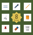 flat icon stationery set of notepaper knife vector image vector image