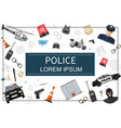 flat police elements template vector image vector image