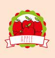 fresh apple natural fruit organic emblem design vector image