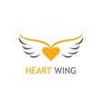 gold heart wing logo vector image