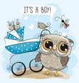 greeting card its a boy with baby carriage and owl vector image vector image