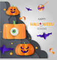 halloween promotion banner with cutest pumpkins vector image
