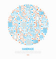 handmade concept in circle with thin line icons vector image vector image