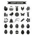 happy easter icon set black silhouette outline vector image vector image