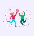 happy romantic couple jumping people in love vector image