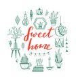 home decor and house plants hand drawn set vector image vector image