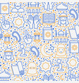 islamic seamless pattern with thin line icons vector image