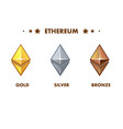 isolated gold silver and bronze ethereum icon vector image vector image