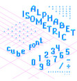 isometric font alphabet abc from blue cubes vector image vector image