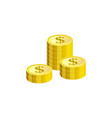 isometric gold dollar coins in pile isolated on vector image