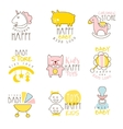 Kids Shop Promo Signs Set Of Colorful vector image vector image