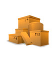 large heap parcels with cargo signs on white vector image