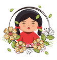 little japanese girl kawaii with flowers character vector image vector image