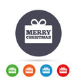 merry christmas gift sign icon present symbol vector image