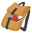 packed bag with credit card and passport or wallet vector image
