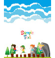 paper template with kids on logs vector image vector image