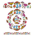 pattern brush with mushrooms vector image vector image