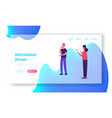 people communication website landing page young vector image vector image