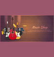 poster with musical instruments music shop vector image vector image