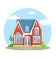red cartoon house exterior with blue clouded sky vector image