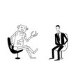 robot and man are talking black outline vector image vector image