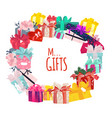 round frame of christmas birthday gifts presents vector image vector image