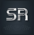 s and r initial silver logo sr - metallic 3d icon vector image vector image
