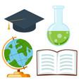 school college university science cartoon icon set vector image