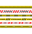 set isolated danger tape or yellow ribbon vector image
