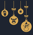 set of hanging christmas balls with reindeer vector image vector image
