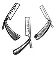 Set og retro style barber razors design element