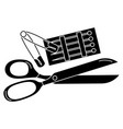 sewing scissors with pins and hooks vector image vector image