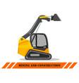 skid steer loader detailed heavy vector image vector image