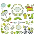 Spring leaves branchesflowersPlant decorations vector image