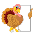 turkey cartoon with blank sign vector image