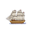 vintage sail ship with while sails - isolated vector image