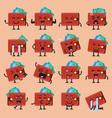 wallet character emoji set vector image vector image