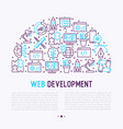 Web development concept in half circle