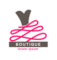 fashion boutique with designers clothes logotype vector image
