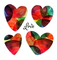Set of watercolor hearts Happy Valentine day vector image