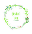 spring time floral frame with watercolor flowers vector image