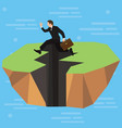a businessman high-jumps over a long jagged vector image vector image